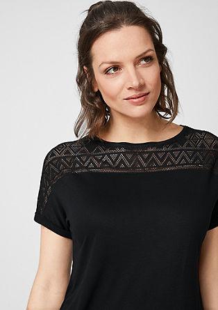 Žerzejové tričko s dírkovaným vzorem