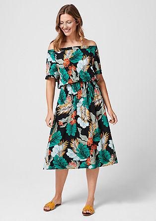 Off-shoulder jurk met motiefprint