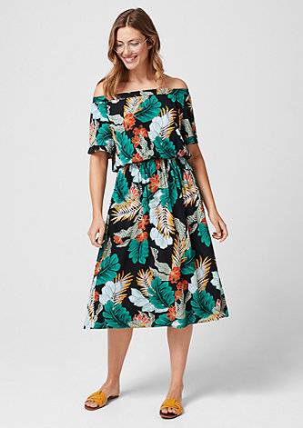 Off Shoulder-Kleid mit Printmuster