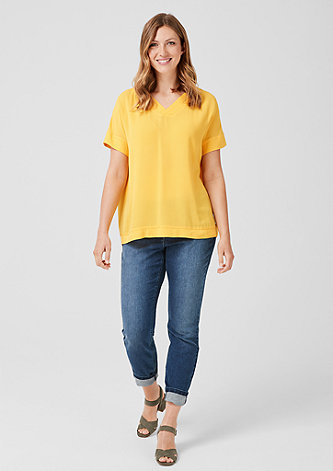 Crêpe-Blusenshirt mit V-Neck