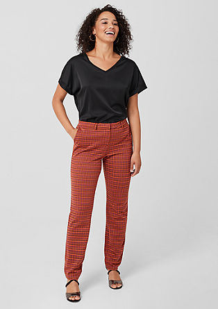 Check woven trousers with a straight leg from s.Oliver