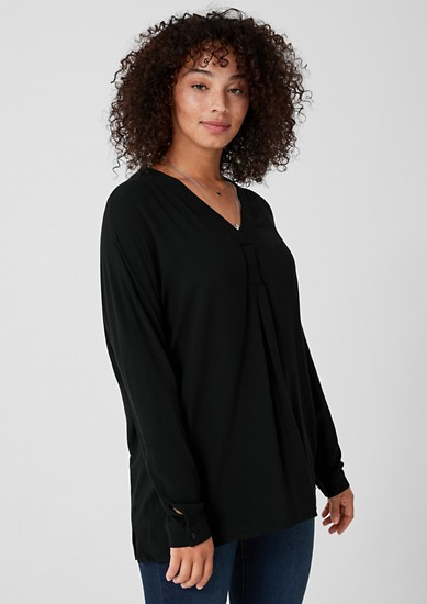 Crêpe blouse in a solid colour from s.Oliver