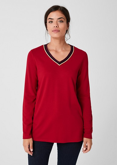 V-neck top with a ribbed collar from s.Oliver