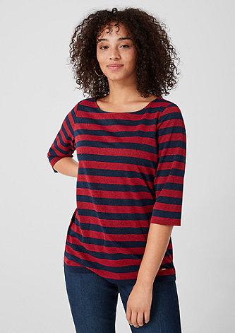 Jerseyshirt mit Glitzer-Streifen