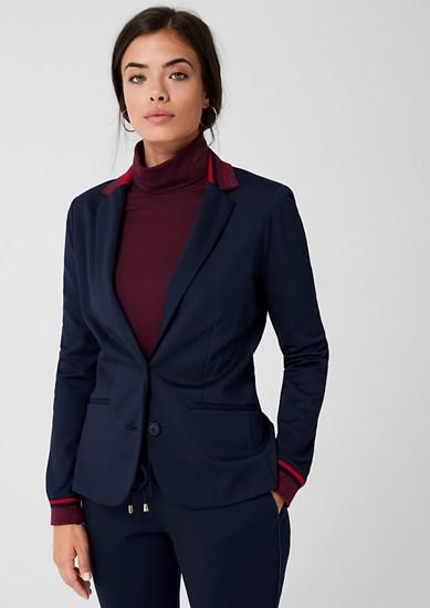 Jersey blazer met geribde details