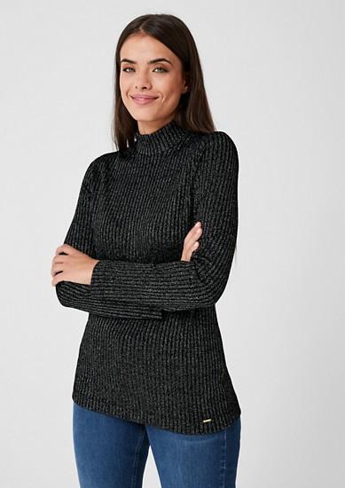 Ripp-Pullover mit Glitzereffekt