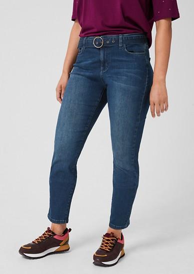 Curvy Extra Slim Leg: Jeans mit Gürtel