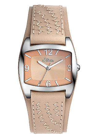 Uhr mit besticktem Lederband