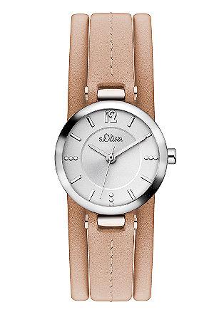 Glänzende Uhr mit Lederband