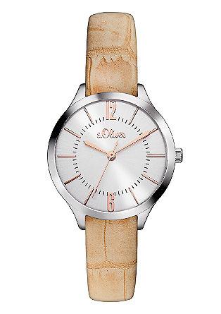 Edelstalen horloge met een leren bandje