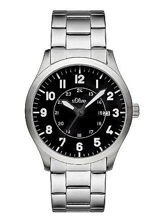 Uhr mit schwarzem Ziffernblatt