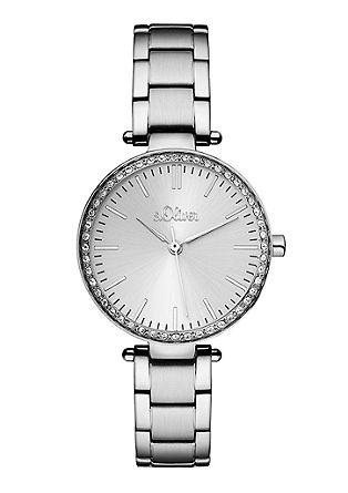 Edelstahl-Armbanduhr mit Zirkonia