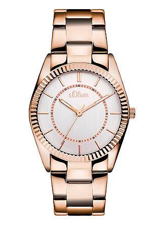 Edelstahl-Uhr mit geriffelter Lünette