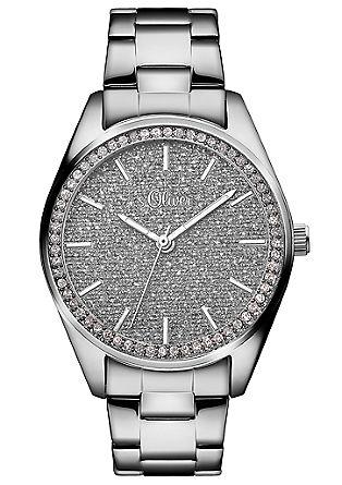 Edelstalen horloge met zirkonia