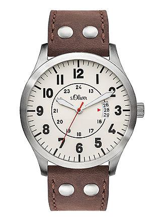 Horloge met leren bandje in pilotenlook