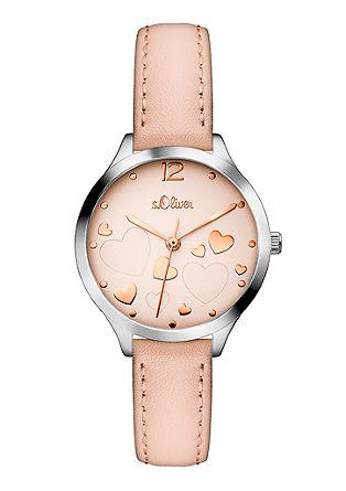 Leder-Uhr mit Herz-Zifferblatt