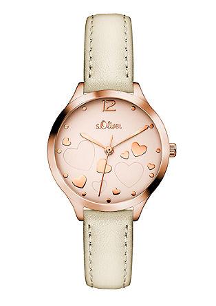 Horloge met rose gold plating en een leren bandje