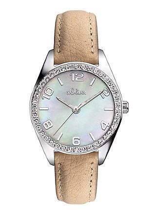 Uhr mit Perlmutt-Blatt und Zirkonia
