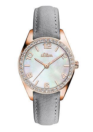 Horloge met parelmoeren wijzerplaat en zirkoonsteentjes