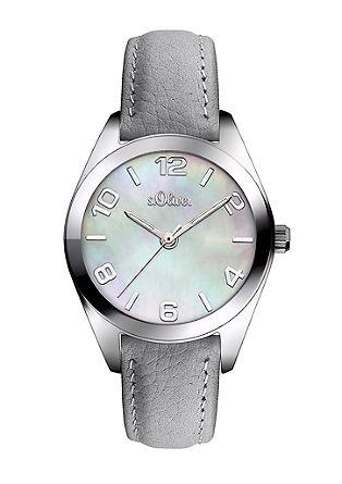Leder-Uhr mit Perlmutt-Blatt