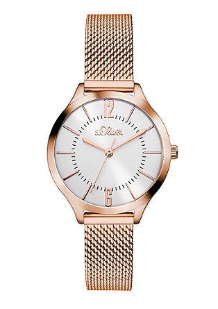 Rosékleurig horloge met bandje van mesh