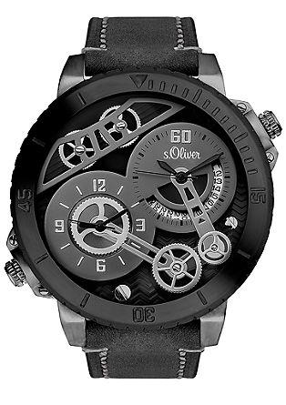 Horloge in skelet-look, met twee uurwerken