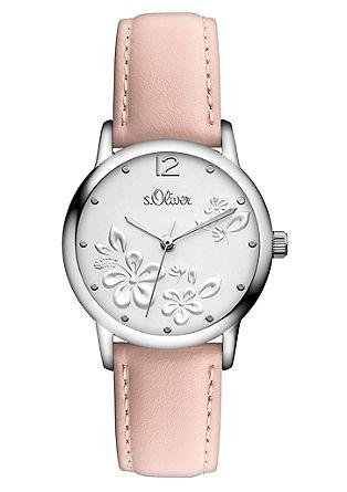 Flower-Armbanduhr mit Lederband
