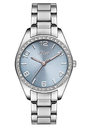 Horloge van edelstaal met zirkonia