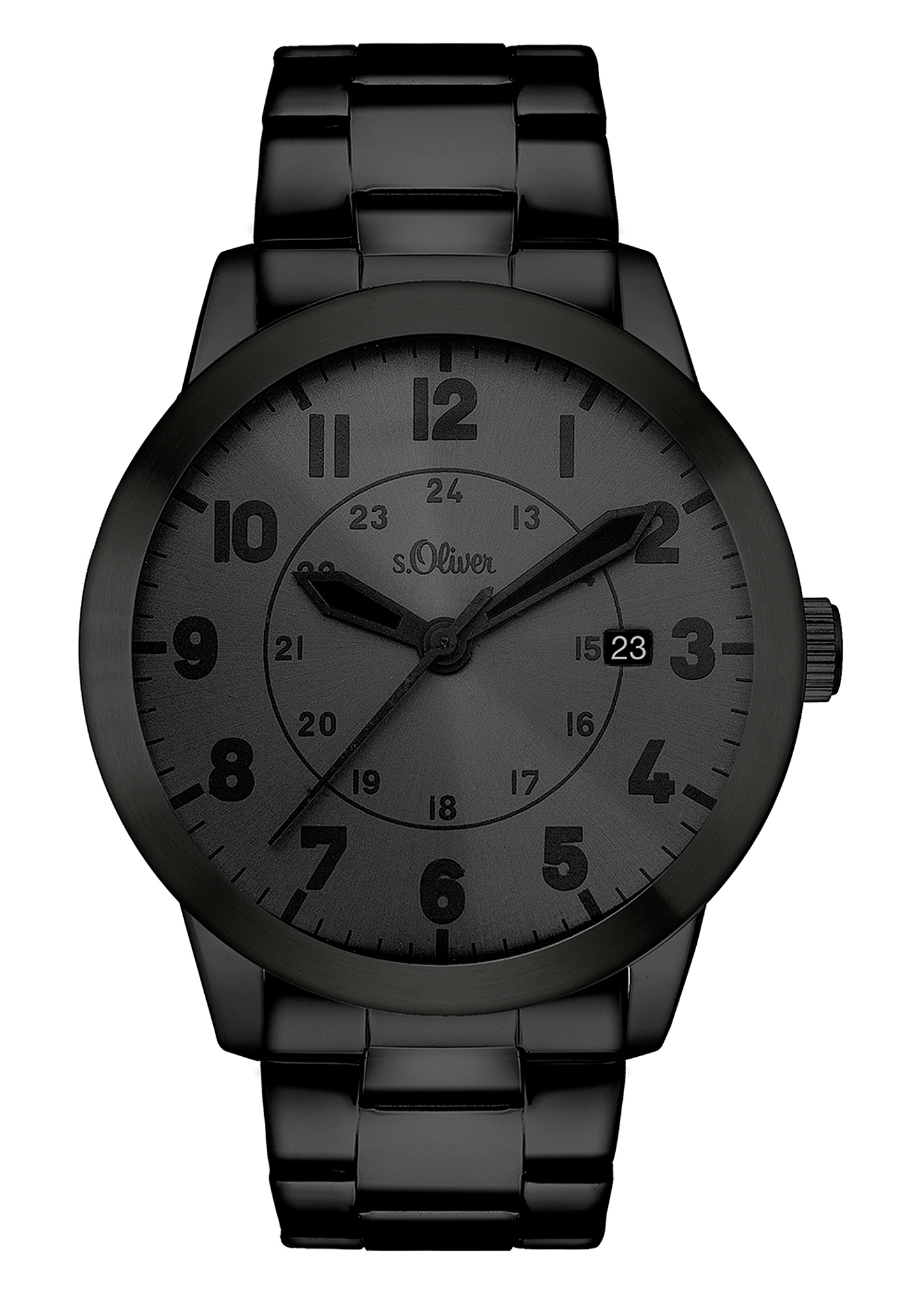 Armbanduhr   Uhren   Grau/schwarz   Edelstahl  glas   s.Oliver