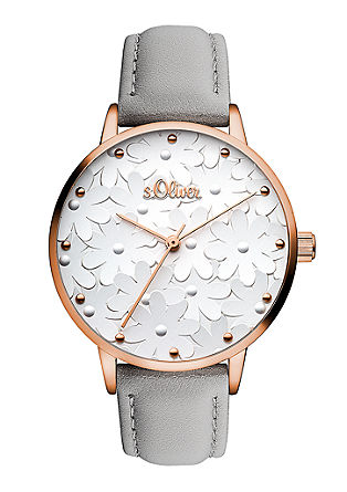 Florale Uhr mit Lederband