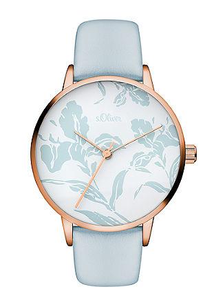 Horloge met gebloemd design
