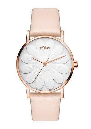 Blumen-Uhr mit Lederband