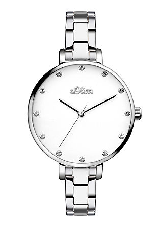 Edelstahl-Uhr mit Glassteinen