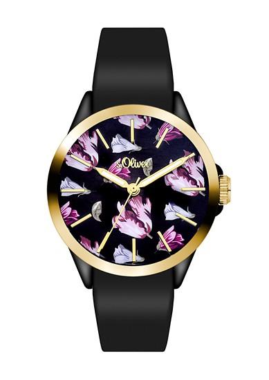 Horloge met tulpenmotief en siliconen bandje