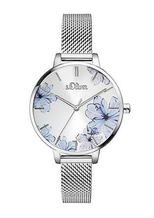 Edelstahl-Uhr mit Milanaise-Armband