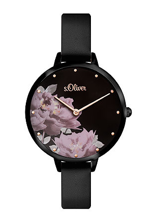 Armbanduhr mit Blüten-Motiv