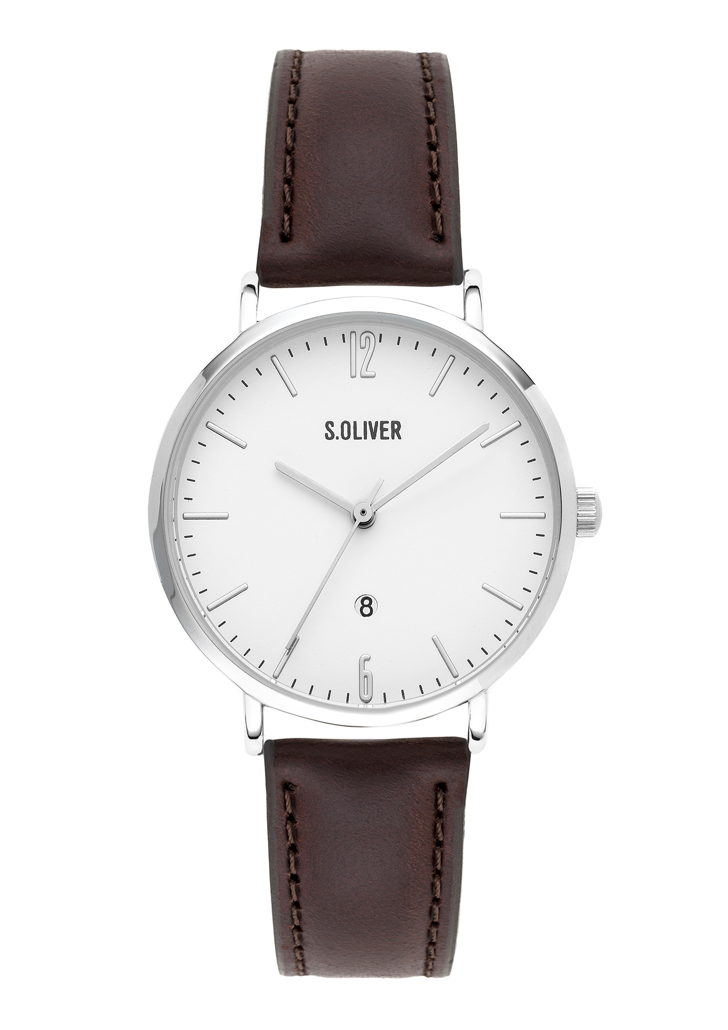 Armbanduhr   Uhren > Sonstige Armbanduhren   Brown   silver   Mineralglas - Echtleder -  edelstahl   s.Oliver