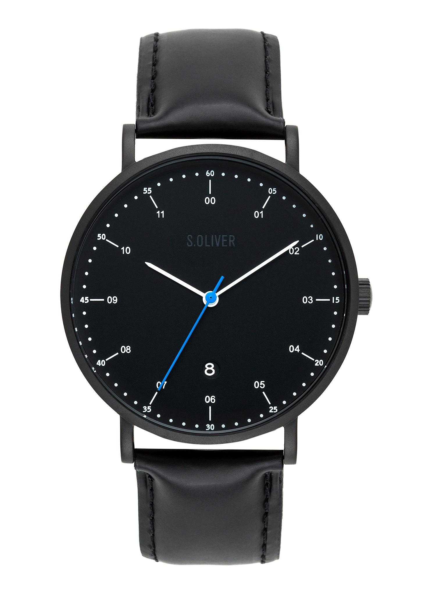 Armbanduhr | Uhren | Grau/schwarz | Mineralglas - Echtleder -  edelstahl | s.Oliver