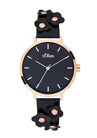 Armbanduhr mit Blüten-Deko