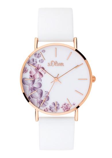 Horloge met bloemenversiering