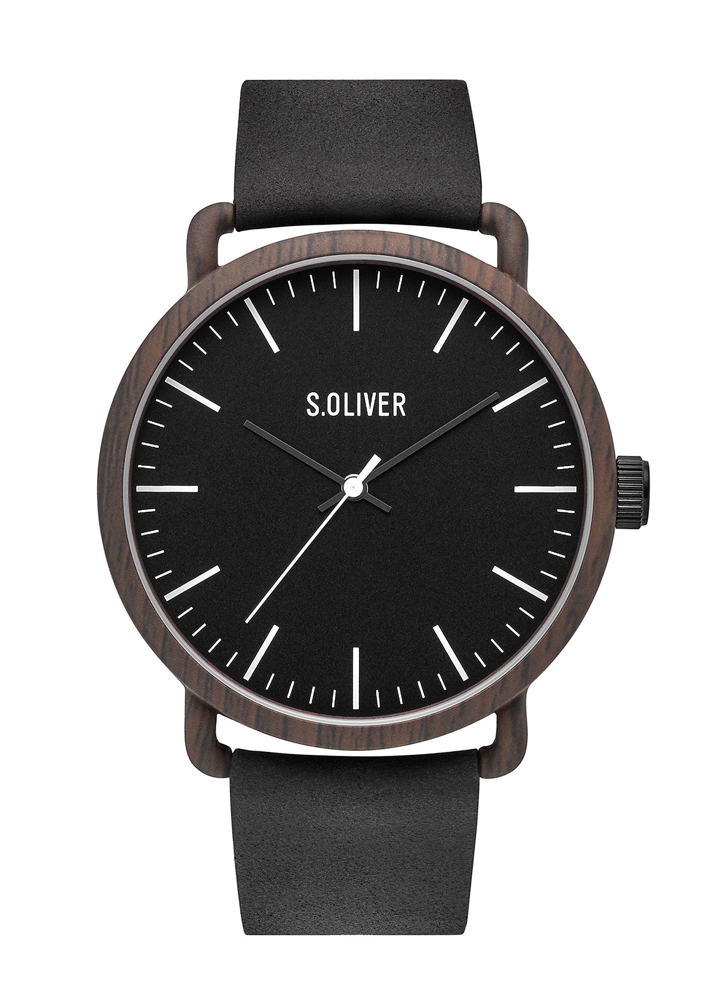 Armbanduhr   Uhren > Sonstige Armbanduhren   Black   brown   Metall -  mineralglas -  kunstleder -   edelstahl   s.Oliver
