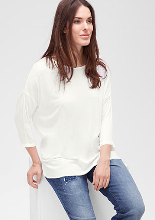 Top with 3/4-length sleeves and blouse details from s.Oliver