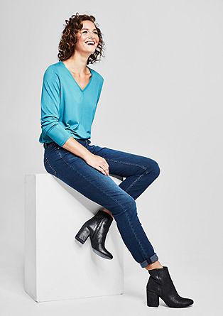 Curvy Fit: obrabljene raztegljive jeans hlače