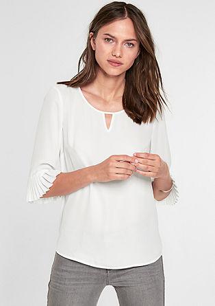 Crêpe-Bluse mit Plissee-Ärmeln