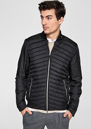 Gewatteerde jas met glanzende ritsen