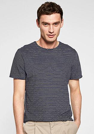 Gestreept shirt van linnen mix
