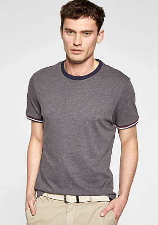 T-shirt with striped cuffs from s.Oliver