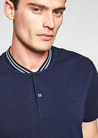 Polo shirt with a striped stand-up collar from s.Oliver