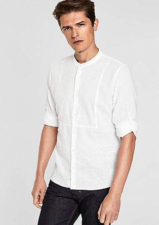 Slim: Stand-up collar in blended linen from s.Oliver