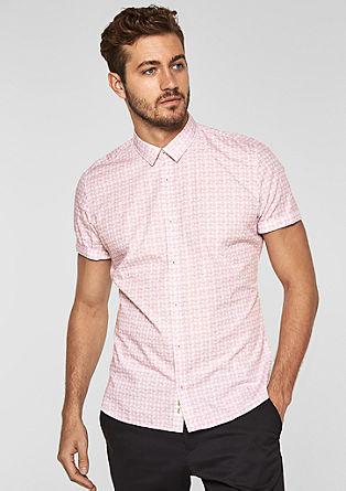 Slim: overhemd met korte mouwen en motief